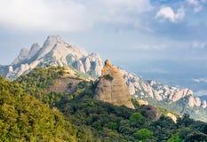 The view to Montserrat mountain Stock Photo