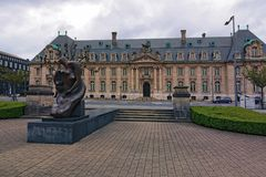View to the Monument at Place Des Martyrs. It is a garden square in Luxembourg City. The square was laid out in the 1920s, after the German occupation of the royalty free stock photos
