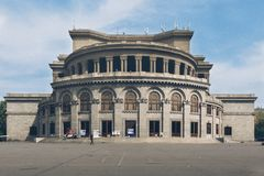 Front view to Yerevan opera theater at daytime royalty free stock photos