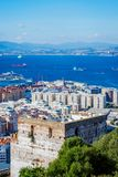 The Moorish castle, Gibraltar. View to Moorish castle in Gibraltar with the british flag Stock Image