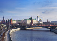 View to Moscow Kremlin from bridge over Moscow river, Russia Stock Image