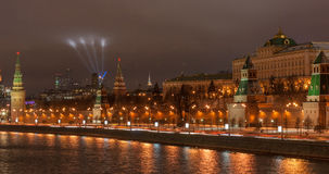 View to the Moscow Kremlin at night Stock Photography