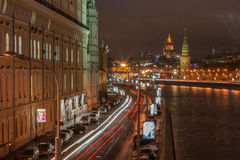 View to the Moscow Kremlin at night stock image