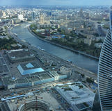 View to Moscow river and city from Moscow city sky scrapers Royalty Free Stock Photo