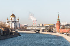 View to Moscow River, Kremlin Embankment, Tower of Kremlin Wall and Cathedral of Christ the Savior Royalty Free Stock Photo