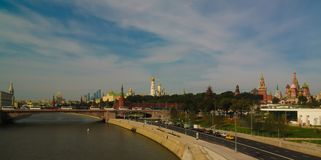 View to Moscow river and Kremlin from the pedestrian bridge of modern park Zaryadye, Moscow, Russia Royalty Free Stock Photo