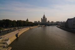 View to Moscow river from the pedestrian bridge of modern park Zaryadye, Moscow, Russia Royalty Free Stock Images