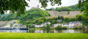 View to moselle river with passenger liner, ruin landshut and be. View to moselle river with passenger liner, old castle ruin and bernkastel village, germany Royalty Free Stock Images