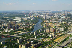 View to Moskva river and dwelling houses from Moscow International Business Center Stock Image