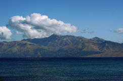 View to mountains in Albania from Corfu island Royalty Free Stock Photography
