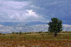 View to mountains in Albania from Corfu island Stock Image