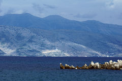 View to mountains in Albania from Corfu island Stock Photography