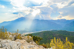 View to the mountains from the hill in Kemer Royalty Free Stock Photo