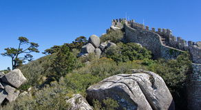View to the Mourish fortress, Sintra. View inside the the fortress of the moors Royalty Free Stock Images