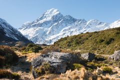 View to mt Cook from Hooker Valley New Zealand Royalty Free Stock Photo