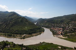 View to Mtsheta from Jvari church. Georgia. View to confluence aragvi  and kura  rivers and town of Mtsheta from Jvari church. Georgia Royalty Free Stock Images