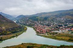 View to Mtskheta with Aragvi river, Georgia. From above Royalty Free Stock Images