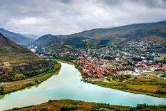 View to Mtskheta with Aragvi river, Georgia. From above Royalty Free Stock Image