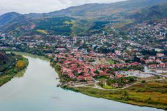 View to Mtskheta with Aragvi river, Georgia. From above Royalty Free Stock Photo