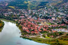 View to Mtskheta with Aragvi river, Georgia. From above Stock Photography