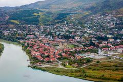 View to Mtskheta with Aragvi river, Georgia. From above Stock Image