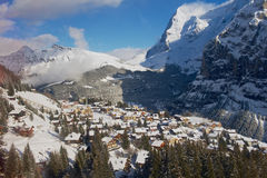 View to the Murren village from the cable car gondola on the way to Schilthorn in Murren, Switzerland. Stock Photography