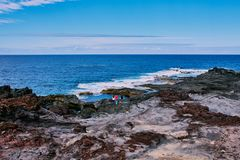 View to the natural lava pools of Mosteiros, Azores stock photography