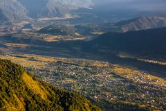 View to nearest villages in foot of Sarangkot view point near Po Royalty Free Stock Images