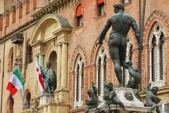 View to the Neptune fountain in Bologna, Italy. Stock Photos