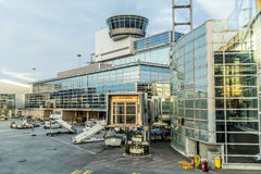 View to new terminal in Frankfurt Rhein Main airport Royalty Free Stock Image