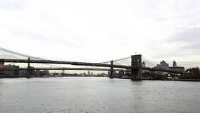 view to new york with the suspension bridge stock image