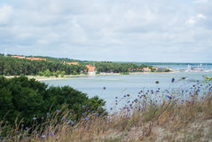 A view to Nida pier from dunes at Curonian spit. A view to Nida pier from dunes at Curonian spit, Lithuania Stock Photography