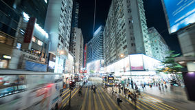 View to night Hong Kong from double-decker tram Royalty Free Stock Photo