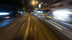 View to night Hong Kong from moving double-decker tram Royalty Free Stock Photography