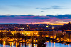 View to the night small district in big city Prague, Czech Republic Royalty Free Stock Images