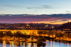 View to the night small district in big city Prague, Czech Republic Stock Photos