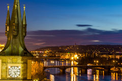 View to the night small district in big city Prague, Czech Republic Stock Photo