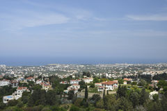 View to the North West over the Kyrenia town. On the North of Cyprus with the Mediterranean sea and a blue sky in background royalty free stock photos