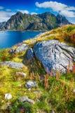 View to Norwegian mountains in Henningsvaer, Lofoten, Norway. Royalty Free Stock Photo