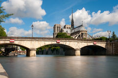 View to Notre Dame de Paris from across the river Stock Photo