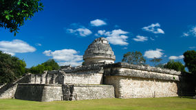View to observatory ruin in Chichen Itza ancient city Mexico Royalty Free Stock Image