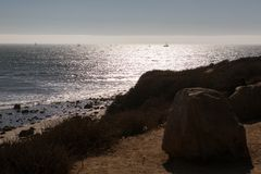 Beach in Los Angeles area. A view to the ocean in Malibu, California, USA Royalty Free Stock Photo