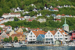 View to the old buildings in Bergen, Norway. Stock Photo