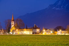 View to an old church and mountains Royalty Free Stock Images