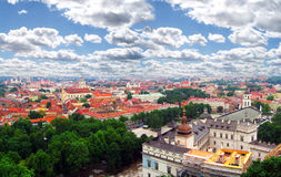 View to the old city capital of Lithuania. Vilnius old town view from Gediminas castle tower Stock Photos