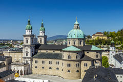 View to the old city and cathedra of Salzburg Stock Images