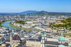 View to the old city of Salzburg from the castle Hohensalzburg Stock Photography