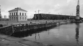Old dock in Antwerp, Belgium. Stock Photo