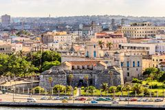 View to old fortress on Malecon street and old city center, Hava. Na, Cuba Royalty Free Stock Photo