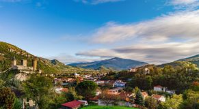 View To Old Medieval Castle And Beautiful Autumnal Valley, Sunset, Foix Royalty Free Stock Photos